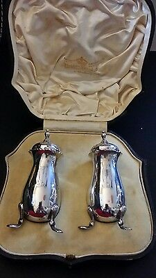 Mappin and Webb Antique Silver Salt & Pepper Pots shakers  Birmingham 1904