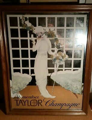"Rare Taylor Champagne Mirror Sign Advertisement Wine Art Mid Century 22"" X 27"""
