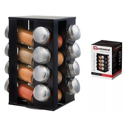 16Pc Revolving Spice Rack Storage Stand Spices Herbs With Holder Storage Black