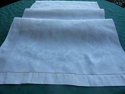 Large White Damask Towel 0R Runner With A Delightful Flower Pattern, Vintage1920
