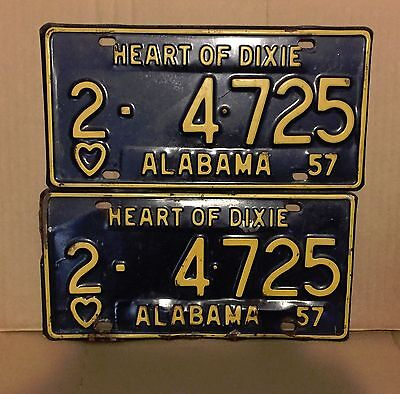 Original Matched Pair   1957 Alabama License Plate ( 2 ) Mobile County