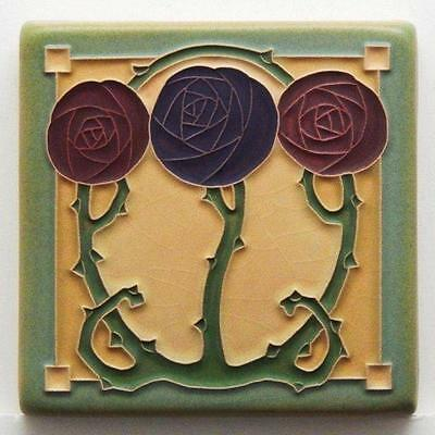 4x4 Arts & Crafts Macintosh Rose Tile in Plum by Arts & Craftsman Tileworks