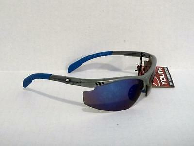 Rawlings Youth 109 Sport Sunglasses Grey Blue Wrap Baseball Softball 2-0219