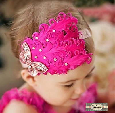 Baby Vintage Feather Headband, Hot Pink & Gold Sequin Feather Flapper Headdress