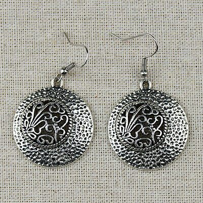 Ethnic Antique Silver Hollow Out Round Drop Earrings For Women