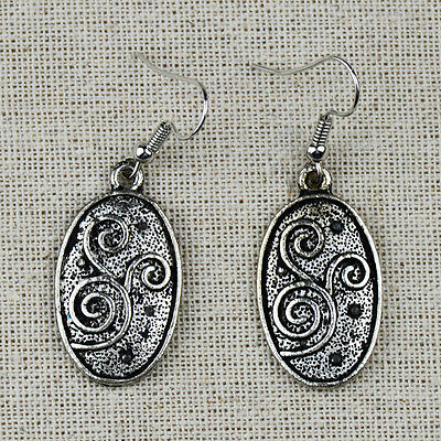 Cute Antique Silver Oval Drop Vintage Earrings For Women