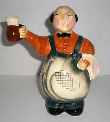 Vintage Whiskey Decanter Bottle Asian Waiter/Innkeeper Collectible Barware Japan