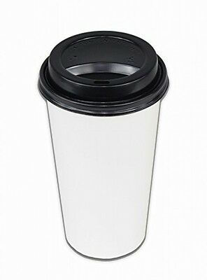 2dayShip 50 Pack WHITE Paper Coffee Hot Cups with BLACK Travel Lids 20 ounce