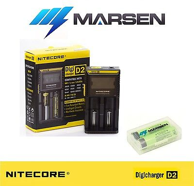 Nitecore D2 charger with Panasonic NCR18650B 3400mAh Lithium batteries