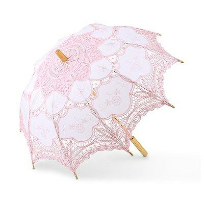 Large Pink Vintage Lace Parasol Bride Wedding Bridal Shower Photo Prop