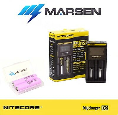 Nitecore D2 charger with Samsung 18650-30Q Rechargable Lithium batteries
