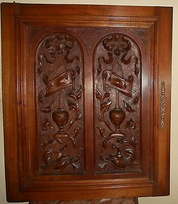 French Antique Carved Wood Panel Gothic Walnut Griffin or Dolphin (1/2)