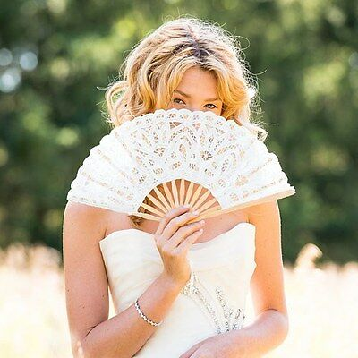 6 White Lace Hand Fans Bride Bridesmaid Vintage Wedding or Shower Photo Props