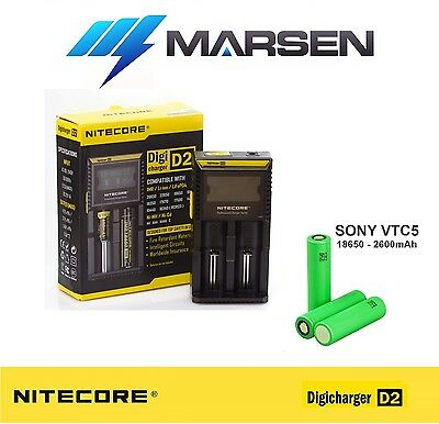 Nitecore D2 charger with Sony US18650 VTC5 2600mAh High Drain Lithium batteries