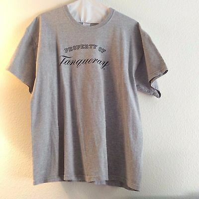 Vintage Men's Property of Tanqueray Grey Short Sleeve Cotton T-Shirt - XL