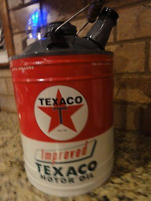 Vintage Texaco Motor Oil Can Metal Officially licensed New great decor Man Cave