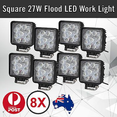 8x 27W LED WORK LIGHT BRIDGELUX LED OFFROAD LAMP UTE BOAT ATV BAR 12V 24V 4WD
