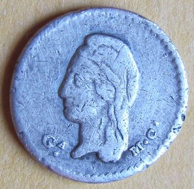 1843 Ga 1/4 Real Republica Mexicana Silver Coin