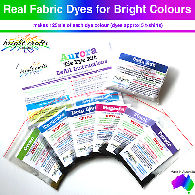 Your Aurora Tie Dye Kit REFILL 6 colours real fabric dyes for bright colours