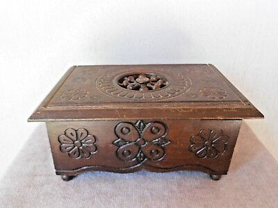 Antique French Breton Brittany Carved Wooden TRINKET BOX