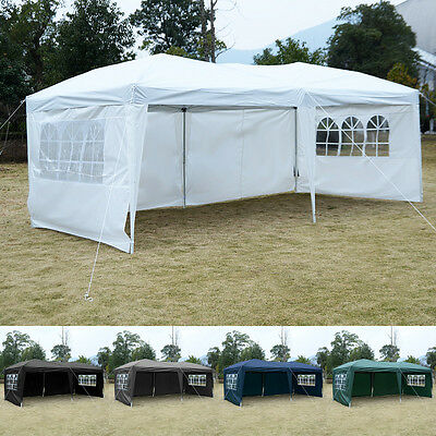 3X6M Pop Up Gazebo Wedding Party Tent Canopy Marquee Waterproof W/ 4 Wall Sides