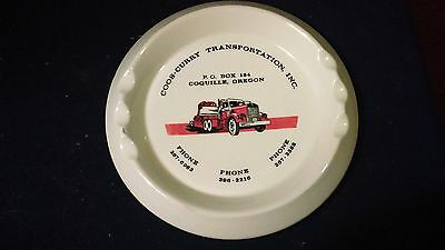 Vtg. Semi Truck ASH TRAY TRANSPORT Coos Curry Transportation Coquille Oregon