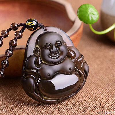 Natural Icy Obsidian Hand Carved Laughing Buddha Lucky Amulet Pendant Necklace