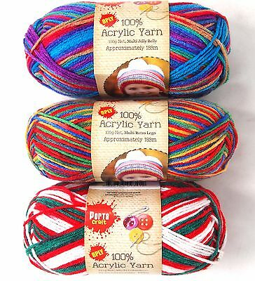 8Ply Acrylic Yarn - Multicoloured Knitting Wool | Jelly Belly Retro Lego Xmas