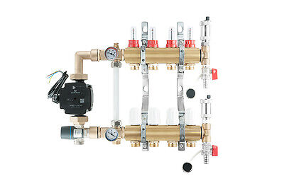 Underfloor heating brass complete manifold 4 port + GRUNDFOS pump/mixer group