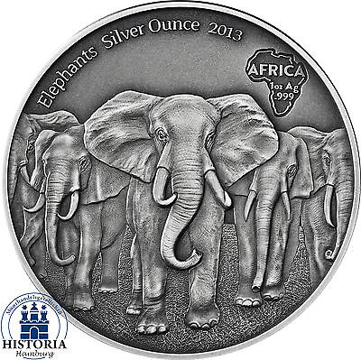 Africa Series 2013: Ghana 5 Cedis Herd of Elephants Silver Ounce Antique Finish