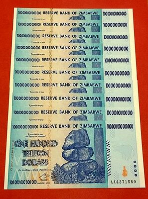 Zimbabwe 10 * $100 trillion banknotes UNCIRCULATED condition (Ten banknotes)