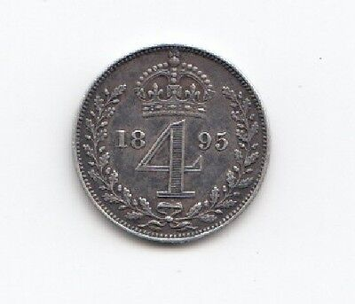 1895 Queen Victoria Silver Fourpence
