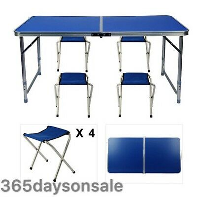 Folding Trestle Portable Camping Picnic Camping Bbq Banquet Party Table &4Chairs