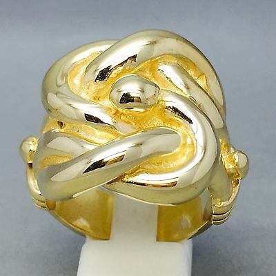 HUGE HEAVY 30g MENS BIG CELTIC KNOT RING 9CT GOLD ON JEWELLERS BRONZE SIZE Z