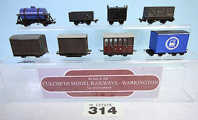 KIT BUILT '009/HOe' RAKE OF 8 MIXED FREIGHT WAGONS UNBOXED #314