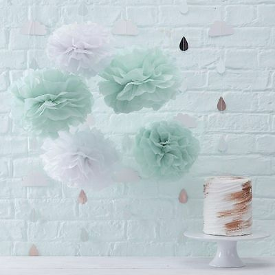 Mint Green White Pom Poms Baby Shower Hanging  Decorations x 5 Ginger Ray