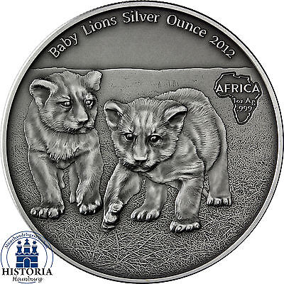 Africa Serie: Congo 1000 Francs 2012 Antique Finish Baby Lions 1 Silver Ounces