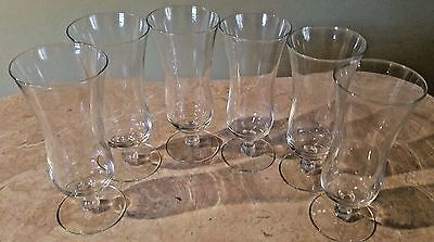 (6) Vintage Clear Glass Parfait Dessert Glasses