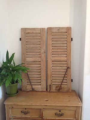 Antique Vintage Rustic French Wooden Window Shutters