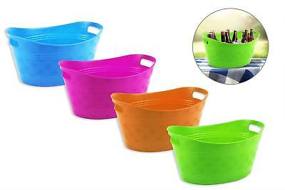 4 X Plastic Flexible Ice Bucket 33X23X14Cm Summer Chilled Drinks Bbq Beer Picnic