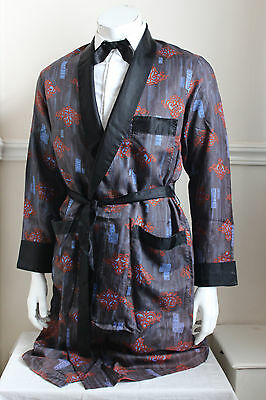 vintage Spinney blue/rust retro silky dressing gown smoking jacket 60s mens M