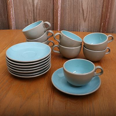8 Harker Harkerware Blue Mist Speckle Stone China Cups and Saucers