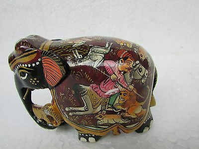 Wooden Handcrafted King Hunting Hand Painted Elephant Statue, Home decor