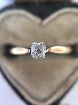Stunning 18ct Yellow Gold Platinum Old Cut Diamond Solitaire Single Stone Ring