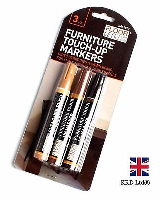 3 FURNITURE TOUCH UP MARKERS Pen Marks Scratches Laminate Wood Floor Repair Pens