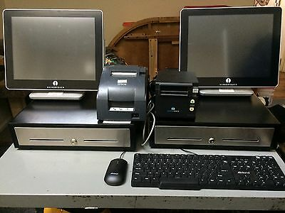 pos systems. Two Complete systems. Windows 7 dual core processor 16 gig