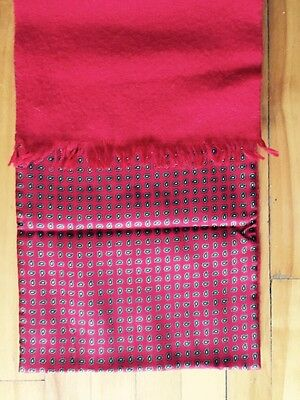 "Park Lane Scarf  Double Sided 100% Wool & 100% Silk Red Paisley 10"" X 51"""