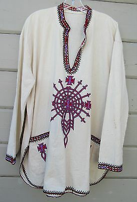 VTG Handcrafted Ethnic White Traditional African LS Dashiki Shirt One Size