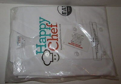 New NWT HAPPY CHEF White Culinary Coat Jacket Size M Style #403 EAT @ Seven