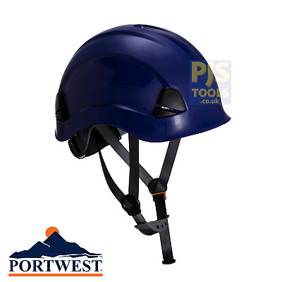 Blue climbing hard hat safety helmet height rescue abseiling petzl style